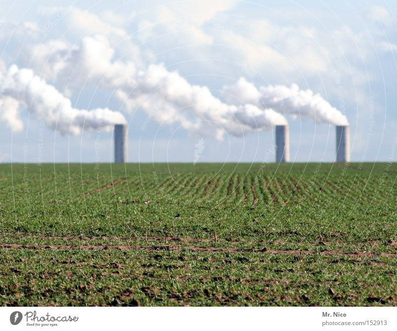 Sky Clouds Field Germany Environment 3 Industry Agriculture Agriculture Chimney Ecological Organic produce Environmental pollution Climate change Electricity generating station