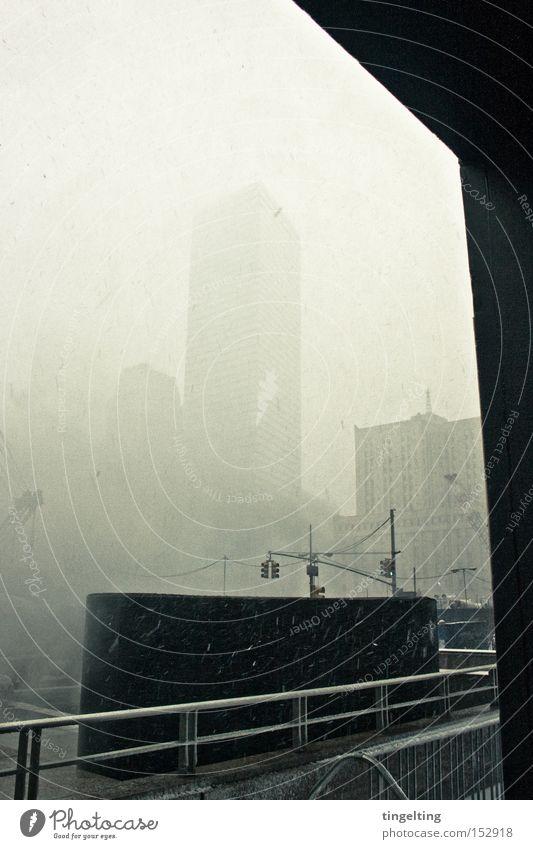 City Winter Snow Building Fog High-rise Handrail Banister New York City Graphic Ground Zero