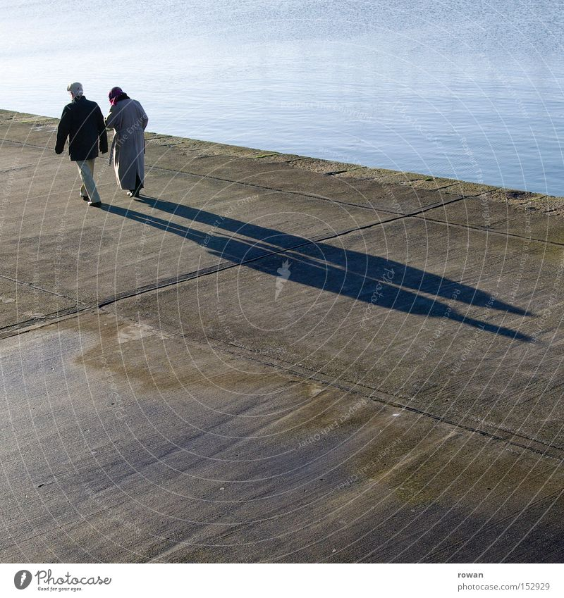 Sunday stroll To go for a walk Shadow Old Senior citizen Couple Together Matrimony Contentment In pairs