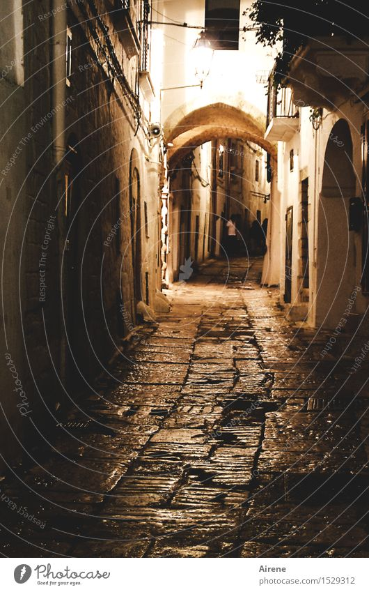 Human being City Old Loneliness House (Residential Structure) Dark Black Street Lanes & trails Brown Going Facade Orange Illuminate Dangerous Italy