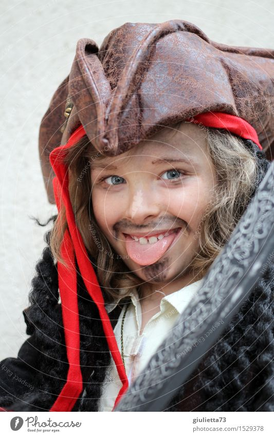 rascal or pirate | naughty boy in pirate costume Playing Children's game Dress up Roleplay Carnival Boy (child) Infancy Tongue 1 Human being 3 - 8 years