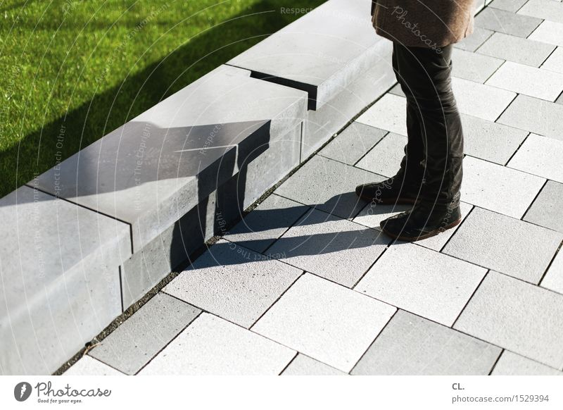woman and shadow Human being Woman Adults Life Legs 1 Beautiful weather Meadow Wall (barrier) Wall (building) Pedestrian Lanes & trails Clothing Pants Coat