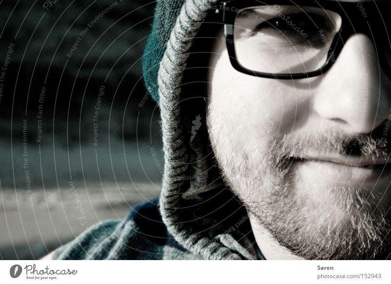 Man Nose Portrait photograph Eyeglasses Facial hair Cap Designer stubble