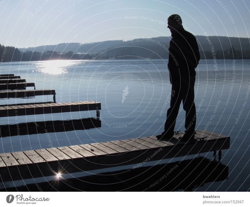 Man Water Sky Sun Blue Winter Calm Cold Mountain Lake Landscape Moody Peace Footbridge Human being December