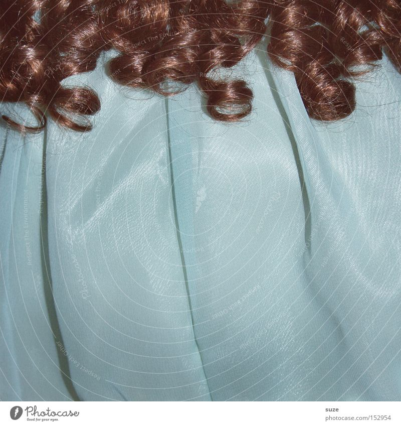 Curly Sue Beautiful Hair and hairstyles Leisure and hobbies Infancy Dress Toys Doll Collector's item Old Kitsch Retro Blue Brown Turquoise Light blue Tulle