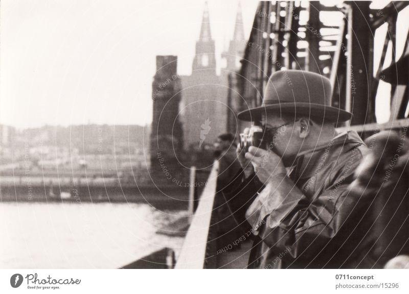 Man Old Bridge River Camera Photographer Take a photo