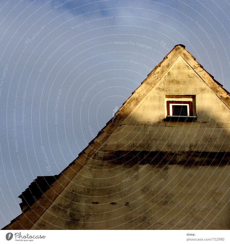 Old Sky House (Residential Structure) Clouds Wall (building) Above Window Facade Roof Diagonal Plaster Hatch Evening sun Gable
