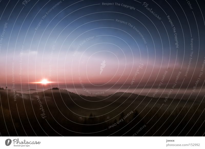Sky Sun Calm Clouds Mountain Moody Fog Horizon End Valley Celestial bodies and the universe