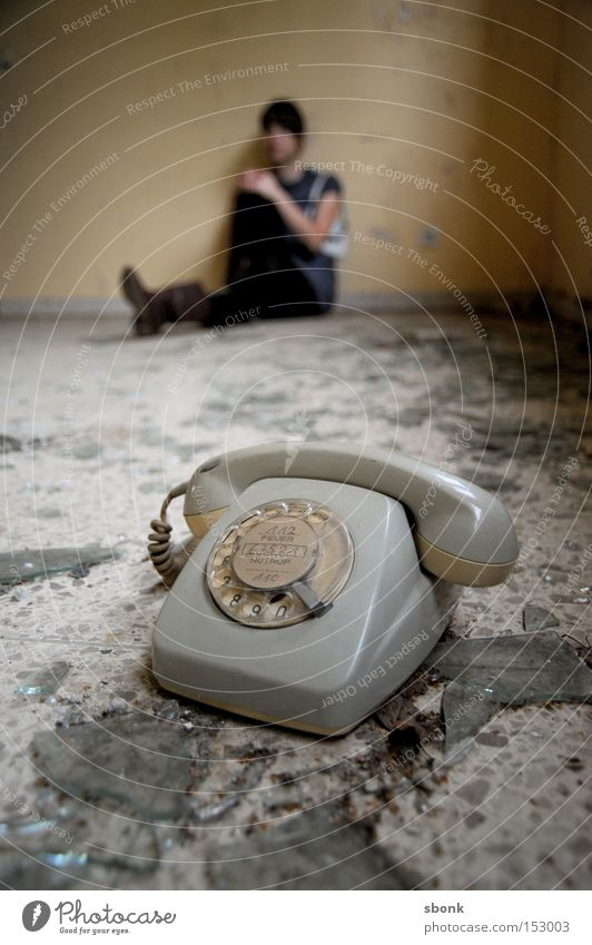 Woman Old Gray Broken Telephone Boredom To call someone (telephone) Beige Shard Sepia Old-school Human being Rotary dial