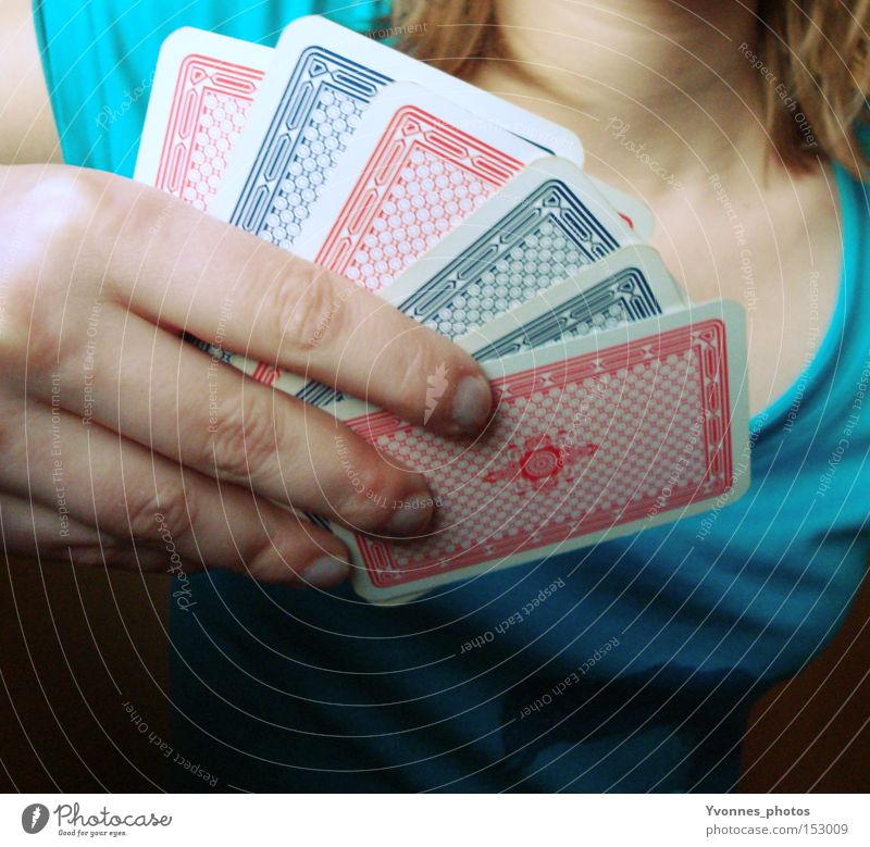 Woman Hand Joy Playing Happy Future Entertainment Playing card Poker Casino Game of chance Game of cards Skat