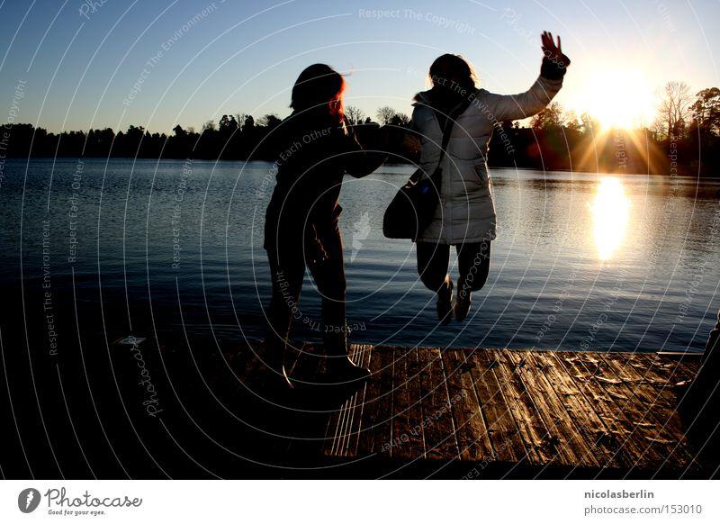 Woman Sun Ocean Joy Winter Cold Jump Happy Success Happiness Bridge Footbridge Sweden Stockholm