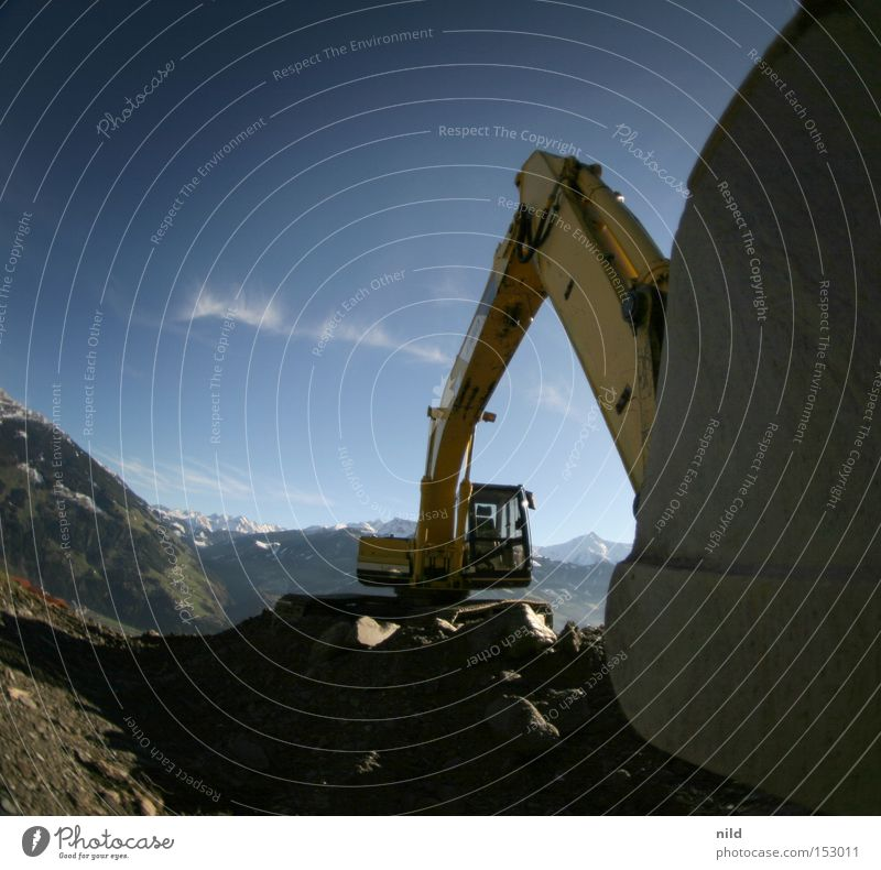 mines_building_site Excavator Construction site Federal State of Tyrol Mountain Peak Environment Environmental pollution Society Shovel Wide angle Fisheye