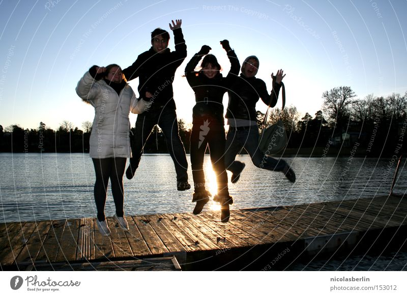 Water Sun Ocean Joy Winter Cold Jump Friendship Flying Success Tall Bridge Back-light Footbridge Sweden Stockholm