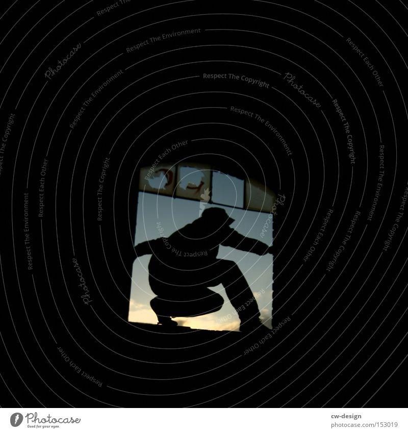 Human being Sky Man Loneliness Window Jump Going Fear Dangerous Broken Break Posture Derelict Hold Panic Poker