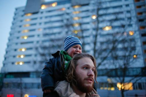 Too much Lifestyle Vacation & Travel Human being Toddler Father Adults 2 Town Capital city High-rise Going Threat Anger Emotions Aggravation Berlin Photography