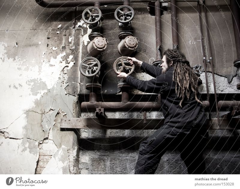 Man Old Dark Wall (building) Power Dirty Industry Industrial Photography Factory Derelict Pipe Iron-pipe Shabby Rotate Effort Transmission lines