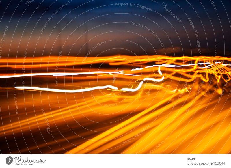 Sharp curves Night life Street Highway Driving Speed Yellow Colour Radiation Electricity In transit Crazy Madness Experimental Line Colour photo Multicoloured