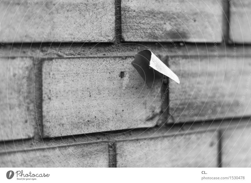 Wall (building) Wall (barrier) Dirty Paper Trash Piece of paper Label Stick