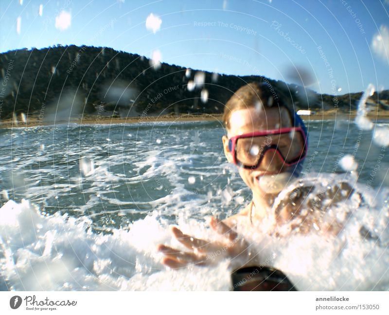 Woman Youth (Young adults) Vacation & Travel Summer Ocean Joy Beach Face Adults Head Happy Waves Leisure and hobbies Swimming & Bathing Skin Adventure