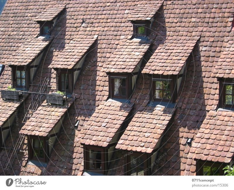 Window Architecture Roof Brick Historic Stuttgart Half-timbered facade Half-timbered house