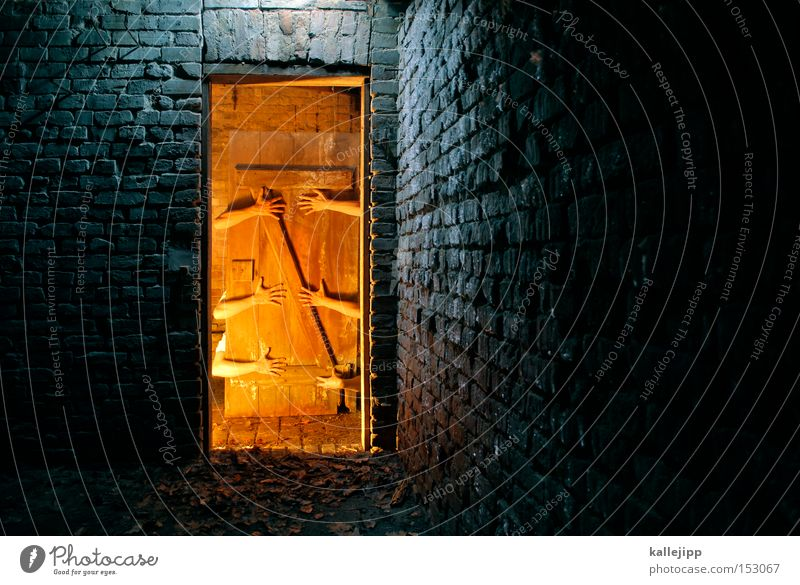 Hand Cold Warmth Door Creepy Gate Derelict Brick Hut Night Entrance Light Fairy tale Magician Small room Hospitality