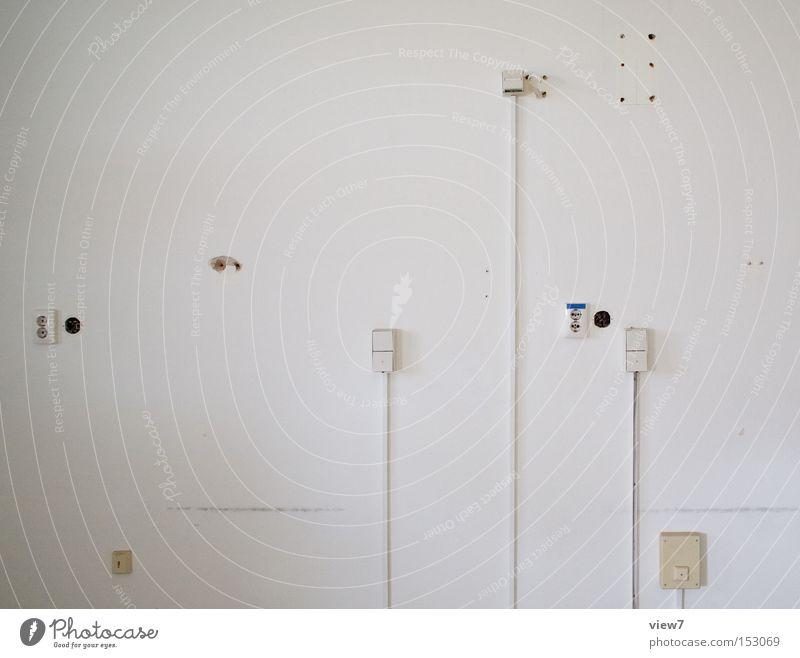 media Wall (building) Wall (barrier) Connection Tin Plaster Cable Terminal connector Pattern Structures and shapes Arrangement Services Cloth White Detail