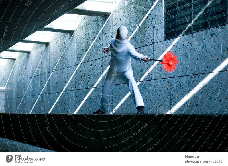 Human being Blue Playing Gray Dance Stand Mask Peace Dancer Whimsical Tunnel Fight Subsoil Beam of light Underpass Artistically talented