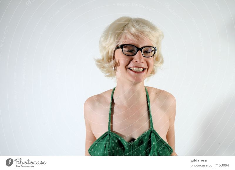 Woman Face Eyes Mouth Blonde Sweet Eyeglasses Sixties Innocent Swimsuit Virgin