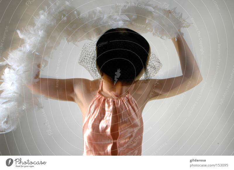 Woman White Girl Black Skin Feather Hat Shoulder Vail Glamor Satin Boa Human being Cloth Alabaster