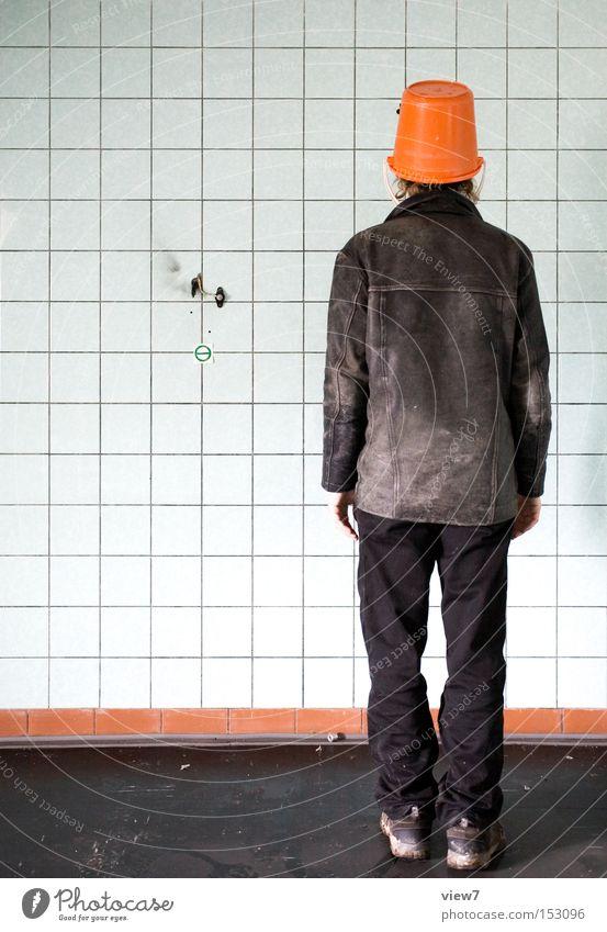 Man Joy Colour Funny Orange Stand Hat Stupid Trashy Boredom Bucket Actor Headwear Agent Leather jacket