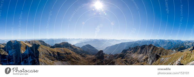 Sun Vacation & Travel Snow Autumn Meadow Mountain Large Horizon Rock Climbing Alps Peak Austrian Alps Mountaineering Panorama (Format)