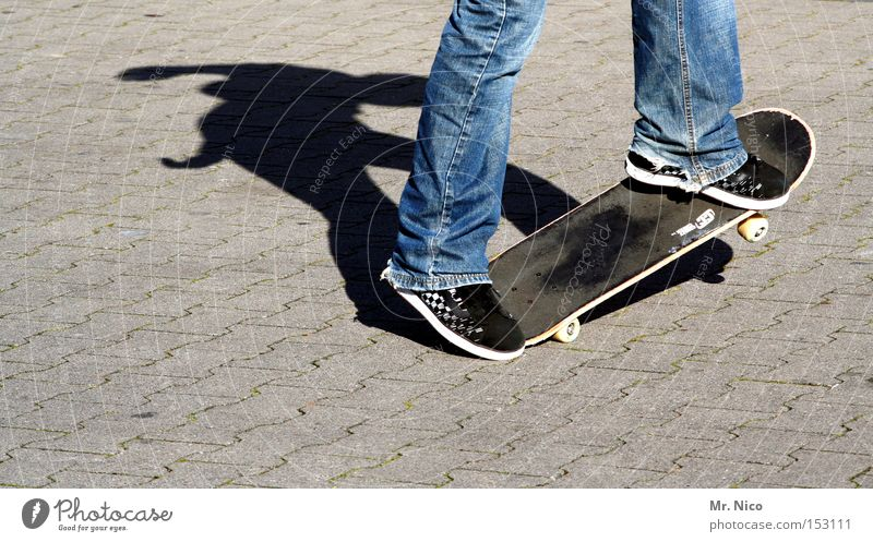 asphaltcowboy *2* Skateboarding Sports Action Leisure and hobbies Asphalt Shadow Contentment Funsport Playing street Movement fun Jeans