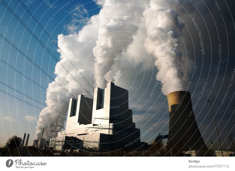 Neurath coal-fired power station Block F and G Industry Energy industry Coal power station Clouds Beautiful weather Industrial plant Cooling tower Smoking