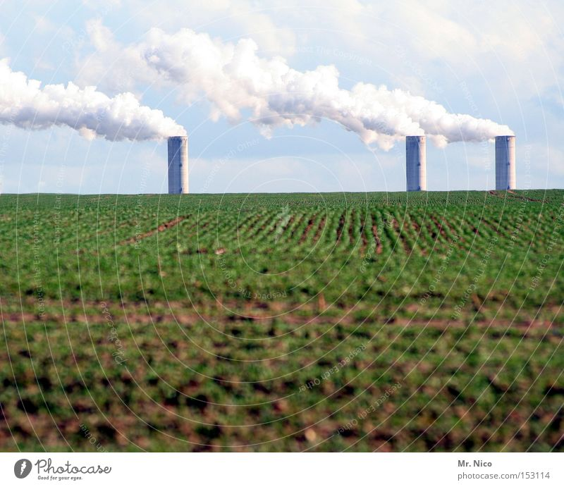 """""""""l ^ ^ ^^l^^l Environment Environmental pollution Ecological Agriculture Field Sky Clouds Chimney 3 Industry Organic produce Electricity generating station"