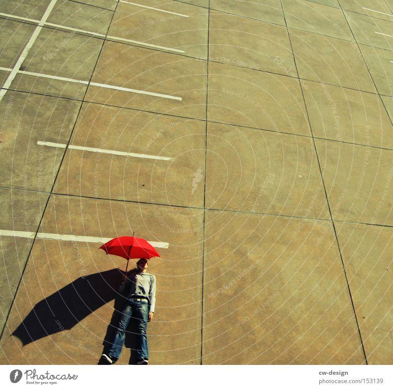 AntiVir On II Umbrella Human being Red Concrete Bird's-eye view Parking lot Parking level Beautiful weather Shadow Man Masculine Against Stand Lie Art