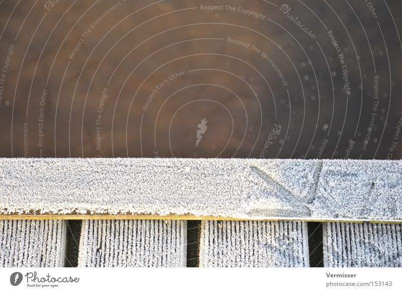 Tracking. Ice Footprint Water Coast Brown White Shadow Cold Bird Winter Harbour Detail Bridge. trace