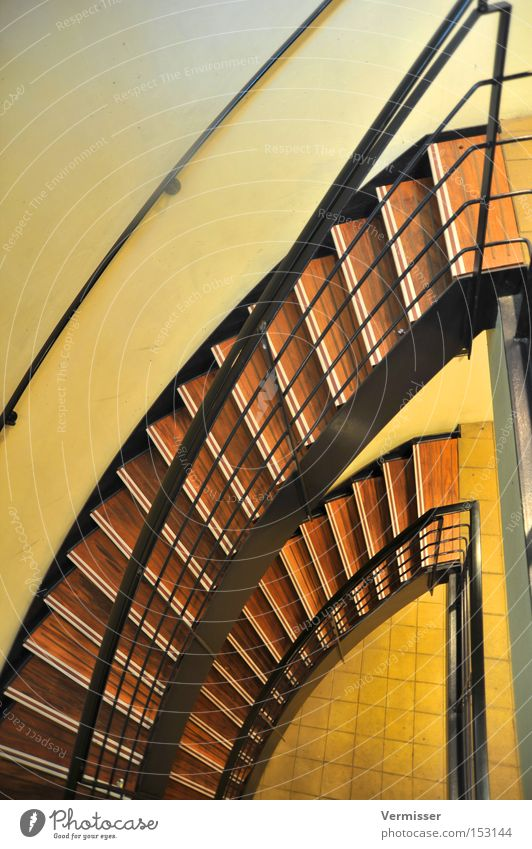 Down the stairs. Staircase (Hallway) Wood Metal Light Shadow Colour Yellow Brown Black Go up Descent Stairs Detail Transport