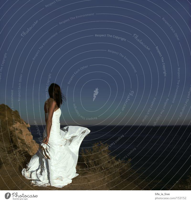 White Beautiful Beach Wind Wedding Romance Longing Woman Cliff Blue sky Bride Gorgeous