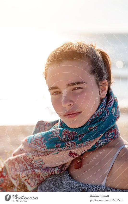 Portrait on the beach Lifestyle Beautiful Harmonious Well-being Contentment Senses Relaxation Calm Vacation & Travel Tourism Summer vacation Human being