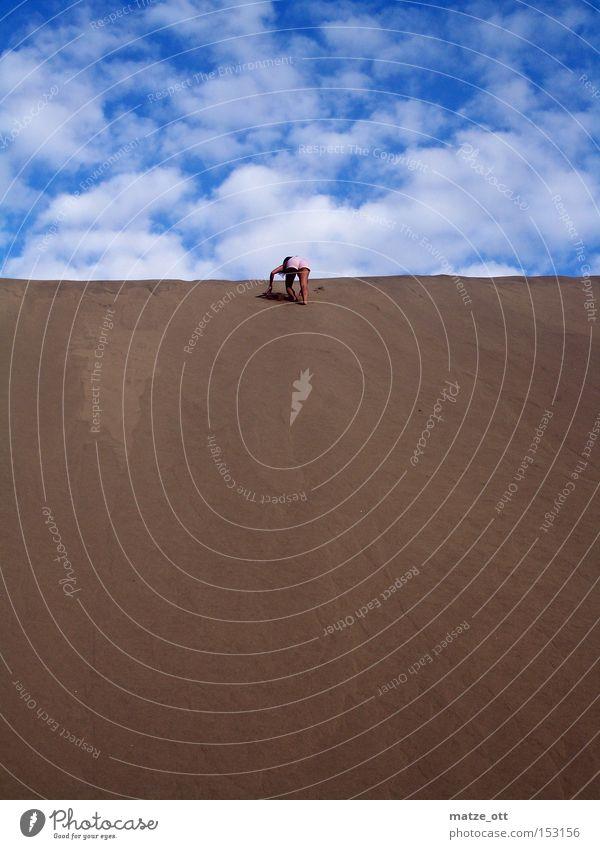 a girl is running up the Hill Sand Dune Beach dune Vacation & Travel Spain Gran Canaria Sky Woman Sandcastle Mountain Climbing Desert Africa Coast