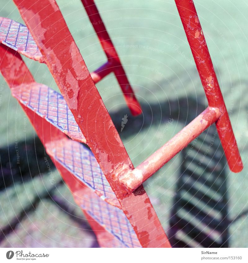 Old Red Playing Education Decline Ladder Sporting event Competition Playground Go up Descent Bright light Drop shadow