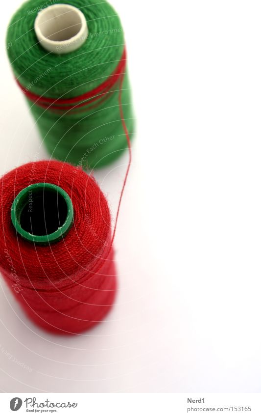ensnaring Sewing thread Green Red White Colour Cloth Material String Macro (Extreme close-up) Coil Rolled Object photography Bright background Isolated Image