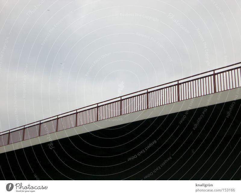 Bridge over troubled water Street Bridge railing Connect Bright Dark Line Sky overstretch Tilt