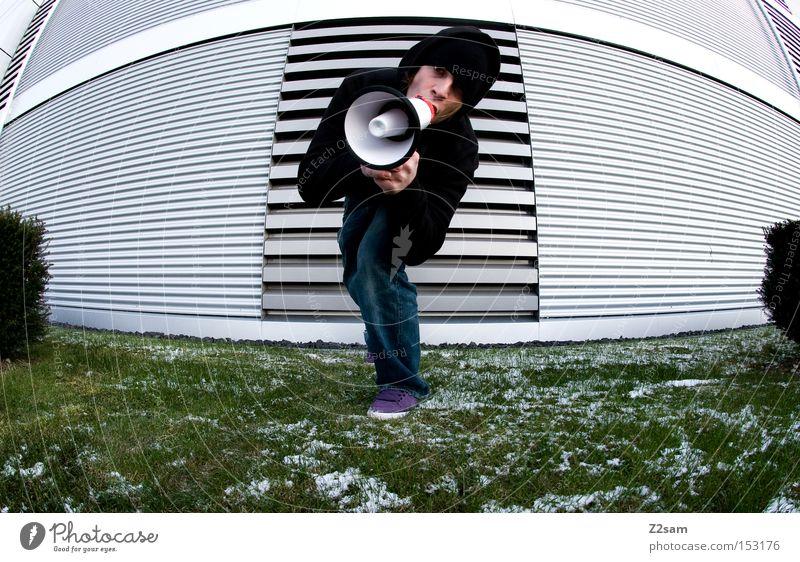 Human being Man Green Winter Meadow Architecture Style Metal Communicate Posture Scream Futurism Culture Art Megaphone