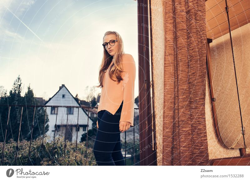 Back to the 50s Feminine Young woman Youth (Young adults) 18 - 30 years Adults Village House (Residential Structure) Detached house Fashion Pants Blouse Blonde
