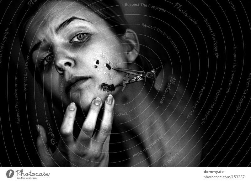 Woman Face Fear Tool Fingers Illness Pain Lady Blood Accident Panic Cut Scissors Pierce Wound