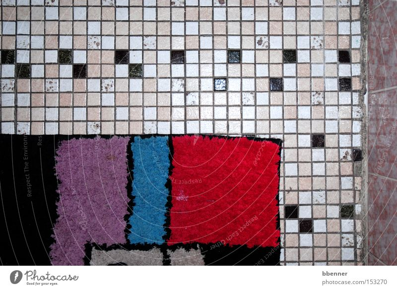 bathroom Black White Pink Red Blue Violet Mosaic Floor covering Wall (building) Carpet Bathroom Old Second-hand Transience Tile apricot
