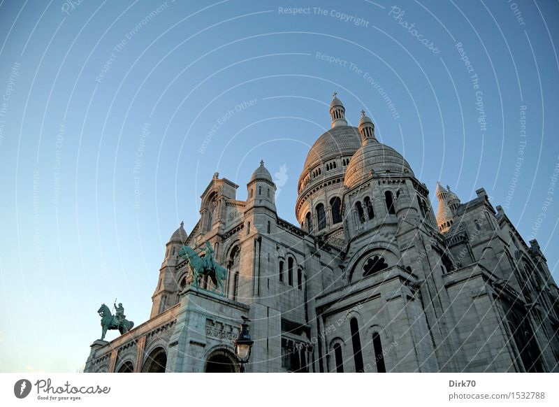 Holy of heart. Vacation & Travel Tourism Sightseeing City trip Art Architecture Cloudless sky Sunrise Sunset Winter Beautiful weather Paris Montmartre France