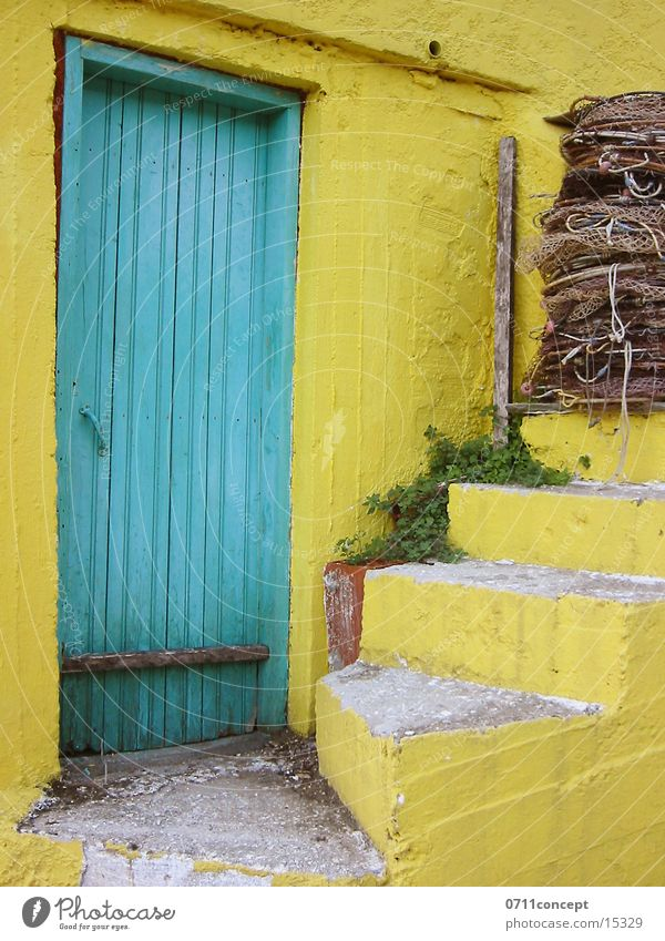 Old Green Vacation & Travel Yellow Architecture Door Stairs Hut Historic Greece Fisherman Access Vacation home Fishing net Fieldstone house