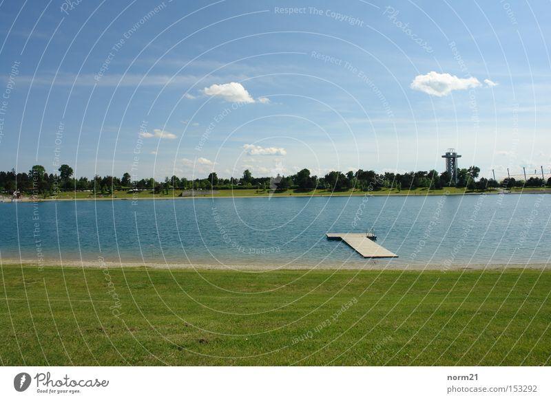 lake Lake Grass Green Blue Footbridge Water Sky Beach Tower Meadow